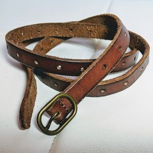 "Leather 0.5"" belt, 44"" length"